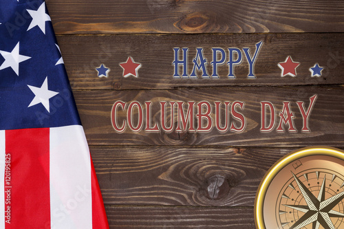 Columbus (MS) United States  City new picture : Columbus Day USA flag and compass .10 October in the United States ...