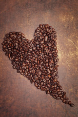 Coffee heart made from dark roasted coffee beans