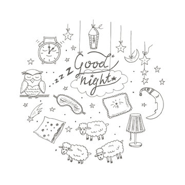 Doodle set of images about good night
