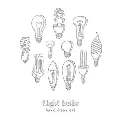 Doodle Set of light bulbs Vector