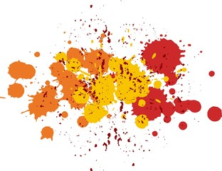 Background with blots and splashes of paint. Vector blots and vector splashes.Orange,red and yellow blobs