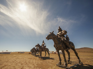 Equestrian statues of warriors of Genghis Khan