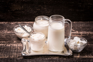 Dairy products,healthy food on wooden table