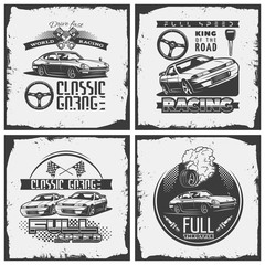 car detailed emblem set with descriptions of classic garage, racing, full speed. print with grunge texture vector illustration