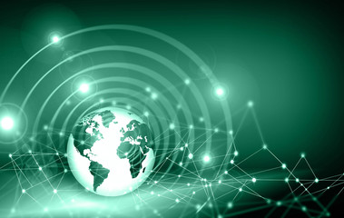 Fototapete - Best Internet Concept of global business. Globe, glowing lines on technological background. Electronics, Wi-Fi, rays, symbols Internet, television, mobile and satellite communicationsblue blur