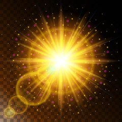 Set Of Glowing Light Effect Star The Sunlight Warm Yellow Glow With Sparkles On A