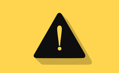 Vector warning sign with long shadow on flat background