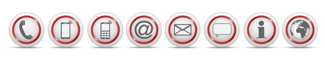 communication contact us icon white red symbol vector set isolated / kontakt symbol icon vektor set rot weiß isoliert