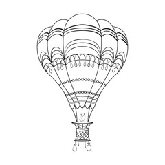 Coloring page adult and children with air balloon.
