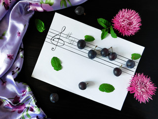 Composition made of plums related with the topic of music