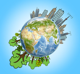 Planet Earth with drawn houses, skyscrapers, buildings and trees around it. Elements of this image are furnished by NASA
