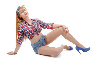 pretty girl in retro style lying on the floor