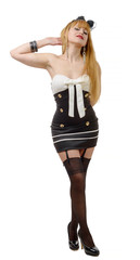beautiful girl in pin-up style with black stockings
