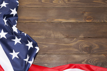 American flag wooden background.The Flag Of The United States Of America. The place to advertise, template.The view from the top.