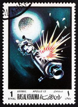Postage stamp Ras al-Khaimah 1970 Apollo 13 in Orbit
