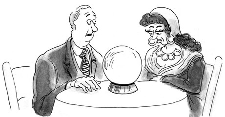 B&W illustration of a businessman asking a fortune teller to look into the crystal ball to tell him the future.