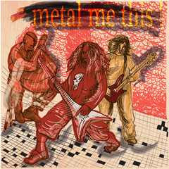 Metal music group. An hand drawn vector picture. Line art illust