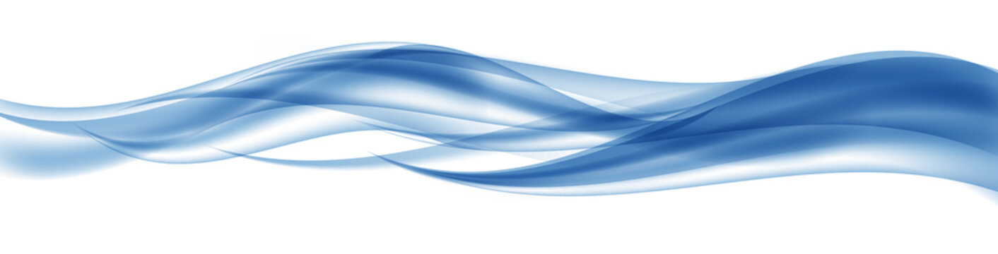 Abstract Blue Wave Set on Transparent  Background. Vector Illust