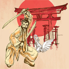 Japan. An Warrior, Shinto, Swan. An hand drawn vector picture. L