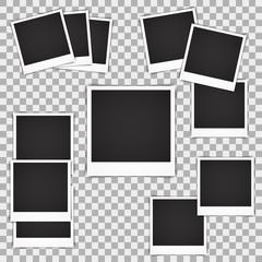 Set of blank vintage photo frame mockup isolated on a transparent background. Photorealistic vector EPS10 retro instant photo Frame Mockup