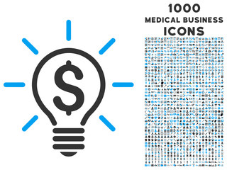 Electric Light Price vector bicolor icon with 1000 medical business icons. Set style is flat pictograms, blue and gray colors, white background.