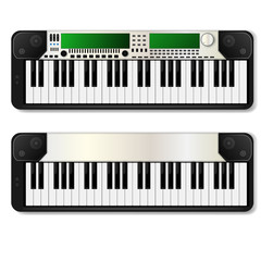 Two realistic synthesizer. vector illustration