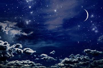 Night sky with stars and full moon background Fotoväggar