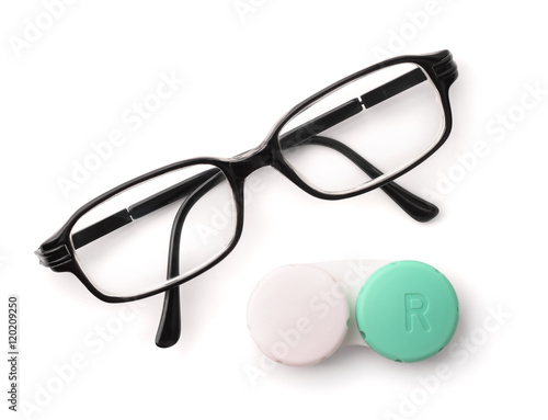 quot top view of eyeglasses and eye contact lenses quot stock