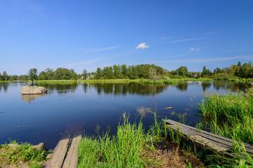 The scenic river Vuoksa, Priozersk, Leningradskaya oblast, Russia.