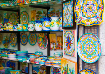 Ceramic shop on Amalfi coast, Italy