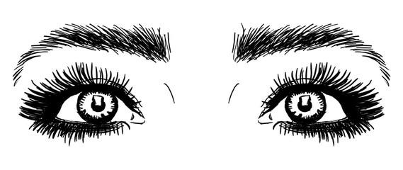 Occhi stilizzati in nero su sfondo bianco