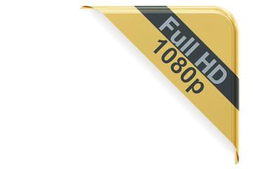 Full HD 1080 concept, corner 3D rendering