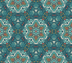 Seamless pattern. mosaic tiles hand drawn background.