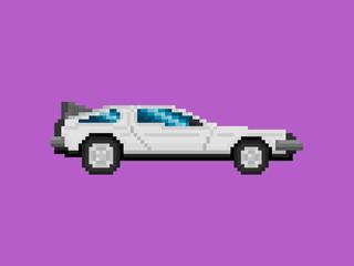 Pixel Art Style Retro Car