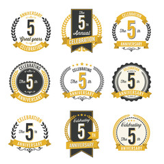 Set of Retro Anniversary Badges 5th Year Celebration