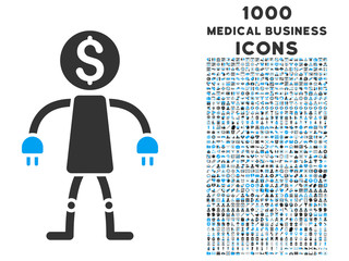 Bank Robot vector bicolor icon with 1000 medical business icons. Set style is flat pictograms, blue and gray colors, white background.