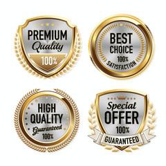 Set of Luxury Gold Quality Badges