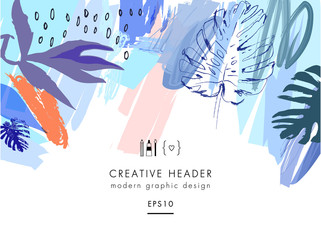 Creative universal floral header in tropical style. Modern graphic design. Vector