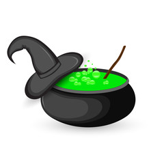 cauldron of boiling green potion for Halloween