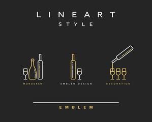 Bottle of wine , cognac , vector icon style line art. Monogram emblem element design style lineart.