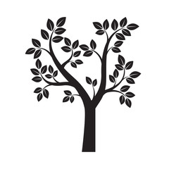 Shape of Black Tree. Vector Illustration.