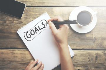 Goals written on a notebook Wall mural