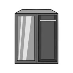 Wardrobe icon in black monochrome style isolated on white background. Furniture symbol vector illustration