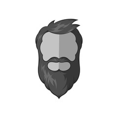Avatar man with beard icon in black monochrome style isolated on white background. People symbol vector illustration
