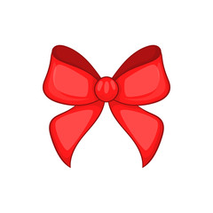 Red bow in cartoon style isolated on white background vector illustration