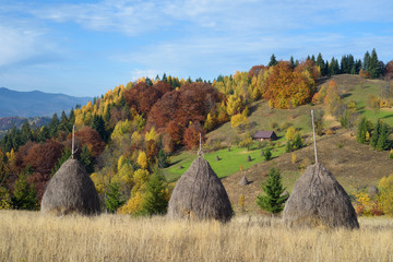 Autumn landscape with a haystacks in the mountains