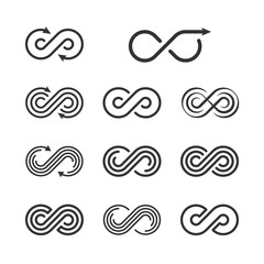 Infinity Logo Template Set. Infinite Symbol Icon Collection. Vec