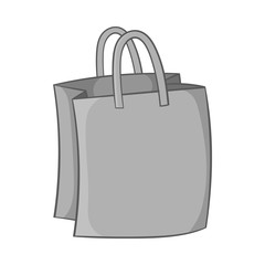 Bag with handles icon in black monochrome style isolated on white background. Shopping symbol vector illustration