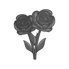 Flowers on grave icon in black monochrome style isolated on white background. Death symbol vector illustration