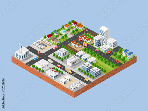 3d isometric three dimensional city with houses for Creation plan 3d